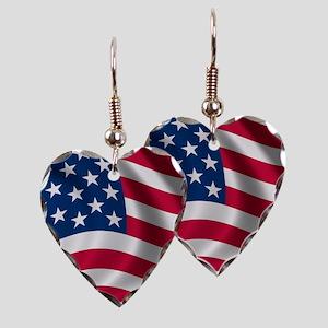 USA Flag Earring Heart Charm