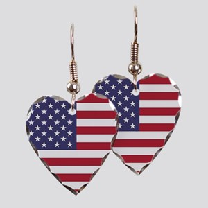 USA flag authentic version Earring Heart Charm