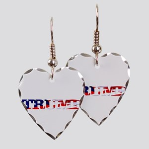 Trump - American Flag Earring Heart Charm