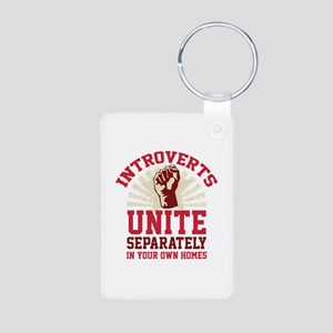 Introverts Unite Aluminum Photo Keychain