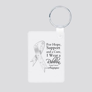 Lung Cancer Ribbon Aluminum Photo Keychain