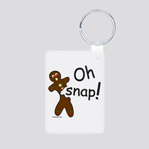 GINGERBREAD MAN OH SNAP Aluminum Photo Keychain