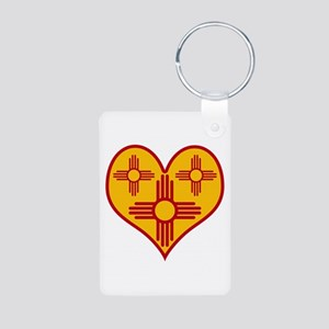 New Mexico Zia Heart Aluminum Photo Keychain
