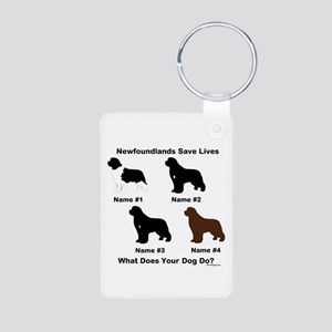 4 Newfoundlands Aluminum Photo Keychain