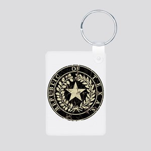 Republic of Texas Seal Distre Aluminum Photo Keych
