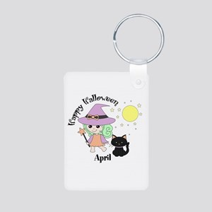 Custom name Halloween witch Aluminum Photo Keychai