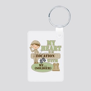 Heart With Soldier Aluminum Photo Keychain