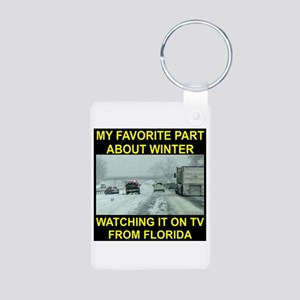 Watching It On TV In FLA Aluminum Photo Keychain