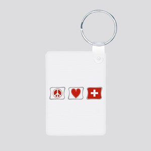Peace Love and Switzerland Aluminum Photo Keychain