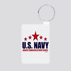 U.S. Navy Brave Through Ev Aluminum Photo Keychain