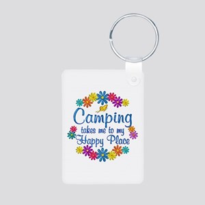 Camping Happy Place Aluminum Photo Keychain