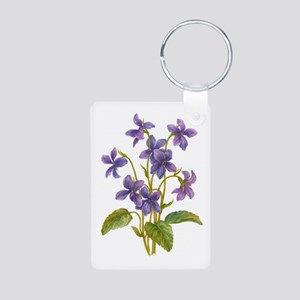 Purple Violets Aluminum Photo Keychain