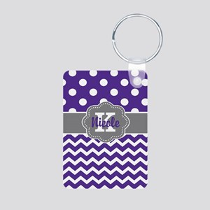 Purple Gray Dots Chevron Personalized Keychains