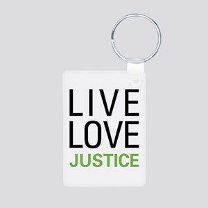 Live Love Justice Aluminum Photo Keychain