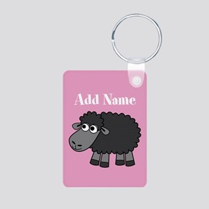 Black Sheep Add Name Pink Keychains