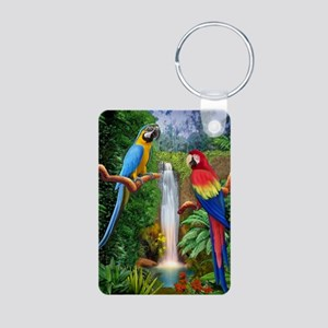 MaCaw Tropical Parrots Aluminum Photo Keychain