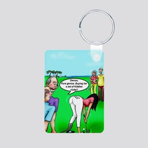 Golf. Pure Genius. by Dave Aluminum Photo Keychain