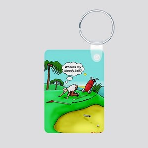 Golf. Where's me ball.  Aluminum Photo Keychain
