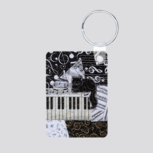 keyboard-sitting-cat-ornam Aluminum Photo Keychain