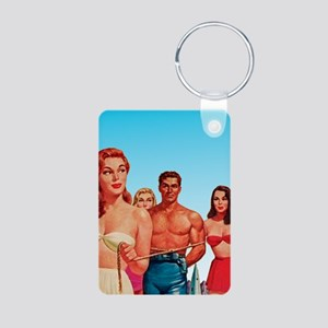 Vintage Sci-Fi PinUp Aluminum Photo Keychain