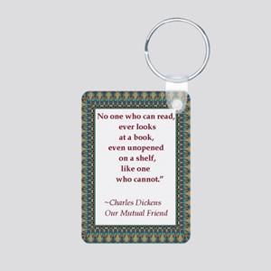 looking at books Aluminum Photo Keychain