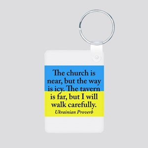 The Church Is Near Aluminum Photo Keychain