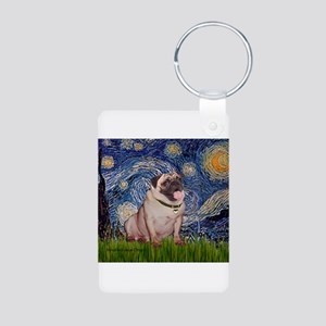 Starry Night and Pug Aluminum Photo Keychain