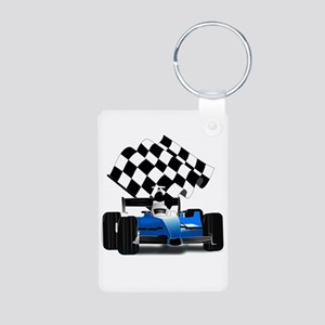 Blue Race Car with Checkered Flag Keychains