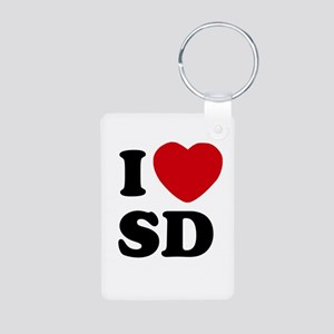 I Heart SD San Diego Aluminum Photo Keychain