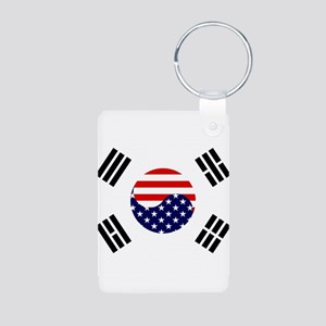 Korean-American Flag Aluminum Photo Keychain