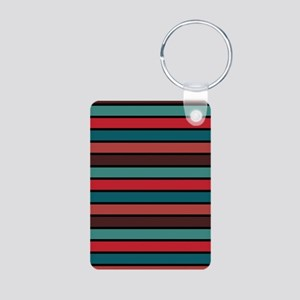 Multicolored Stripes: Ox B Aluminum Photo Keychain