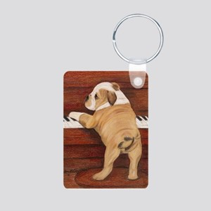 Piano Pup Aluminum Photo Keychain
