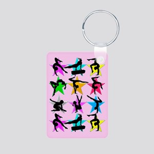 PINK GYMNAST STAR Aluminum Photo Keychain