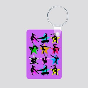 PURPLE GYMNAST Aluminum Photo Keychain