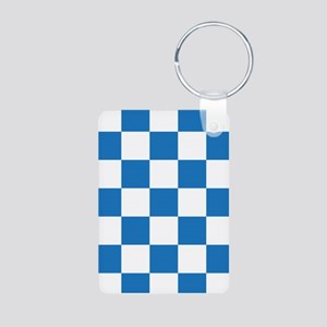 BLUE AND WHITE Checkered Pattern Keychains