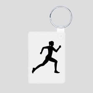 Running woman girl Aluminum Photo Keychain