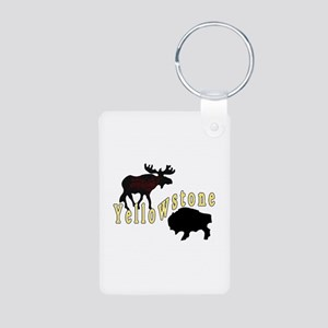 Bison Moose Yellowstone Aluminum Photo Keychain