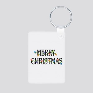Merry Christmas Aluminum Photo Keychain