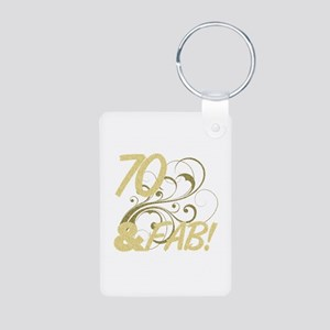 70 And Fabulous (Glitter) Aluminum Photo Keychain