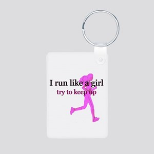 I Run Like a Girl Aluminum Photo Keychain