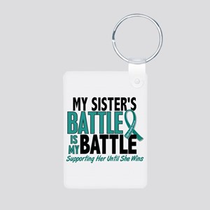 My Battle Too Ovarian Cancer Aluminum Photo Keycha