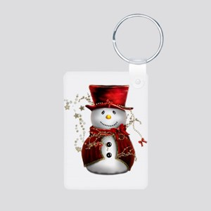 Cute Snowman in Red Velvet Aluminum Photo Keychain
