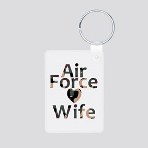 Air Force Wife Heart Camo Aluminum Photo Keychain