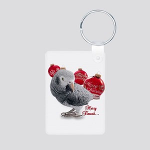 African Grey Parrot Holiday Aluminum Photo Keychai