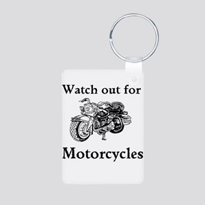 Watch out for motorcycles Aluminum Photo Keychain