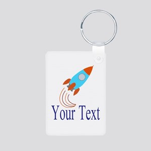 Rocket Ship Personalizable Keychains