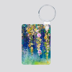 Floral Painting Aluminum Photo Keychain