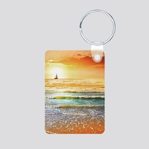 Tropical Beach Aluminum Photo Keychain