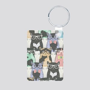 Hipster Cats Aluminum Photo Keychain