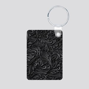 Black Flourish Aluminum Photo Keychain